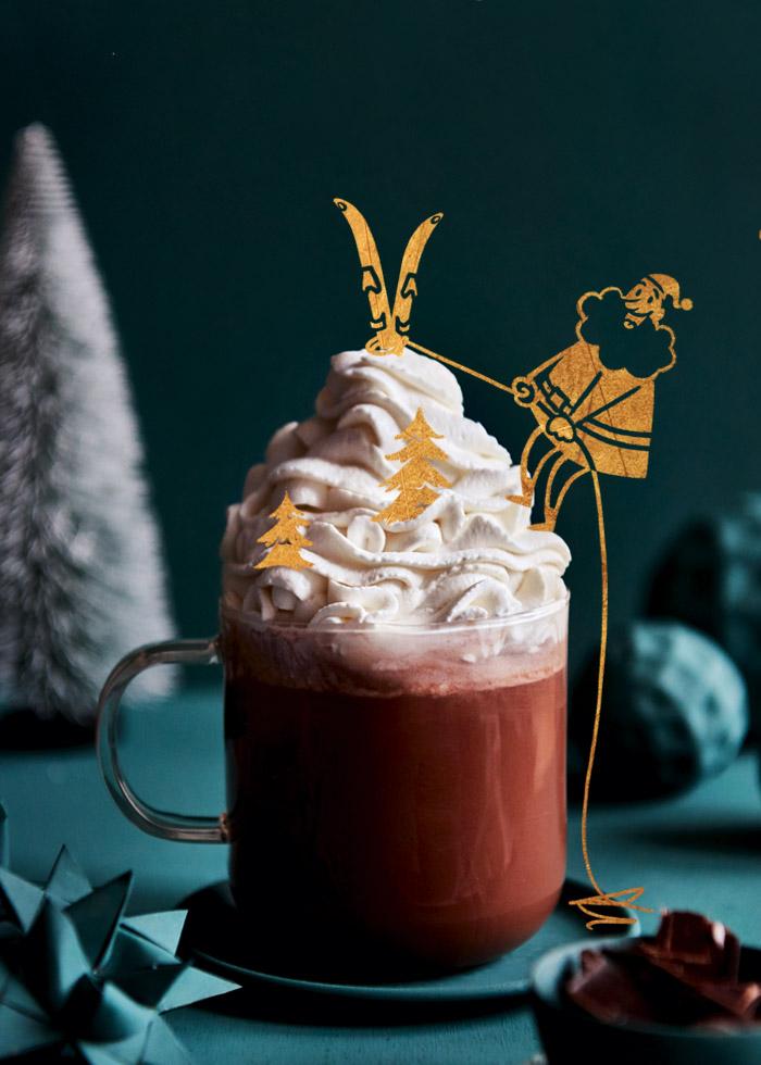 Weihnachtsmailing mit Illustration und Grafikdesign von ELLIJOT und Foodfotografie von Claudia Gödke