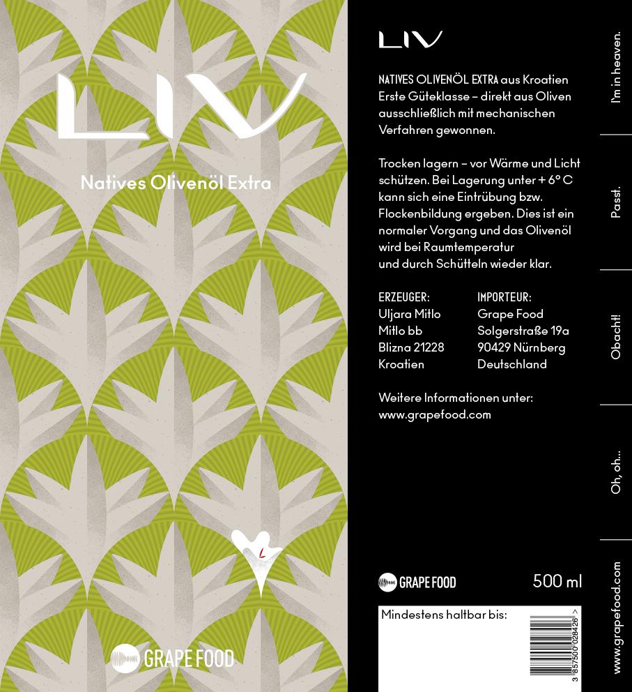 LIV Olivenöl Case Studie Label