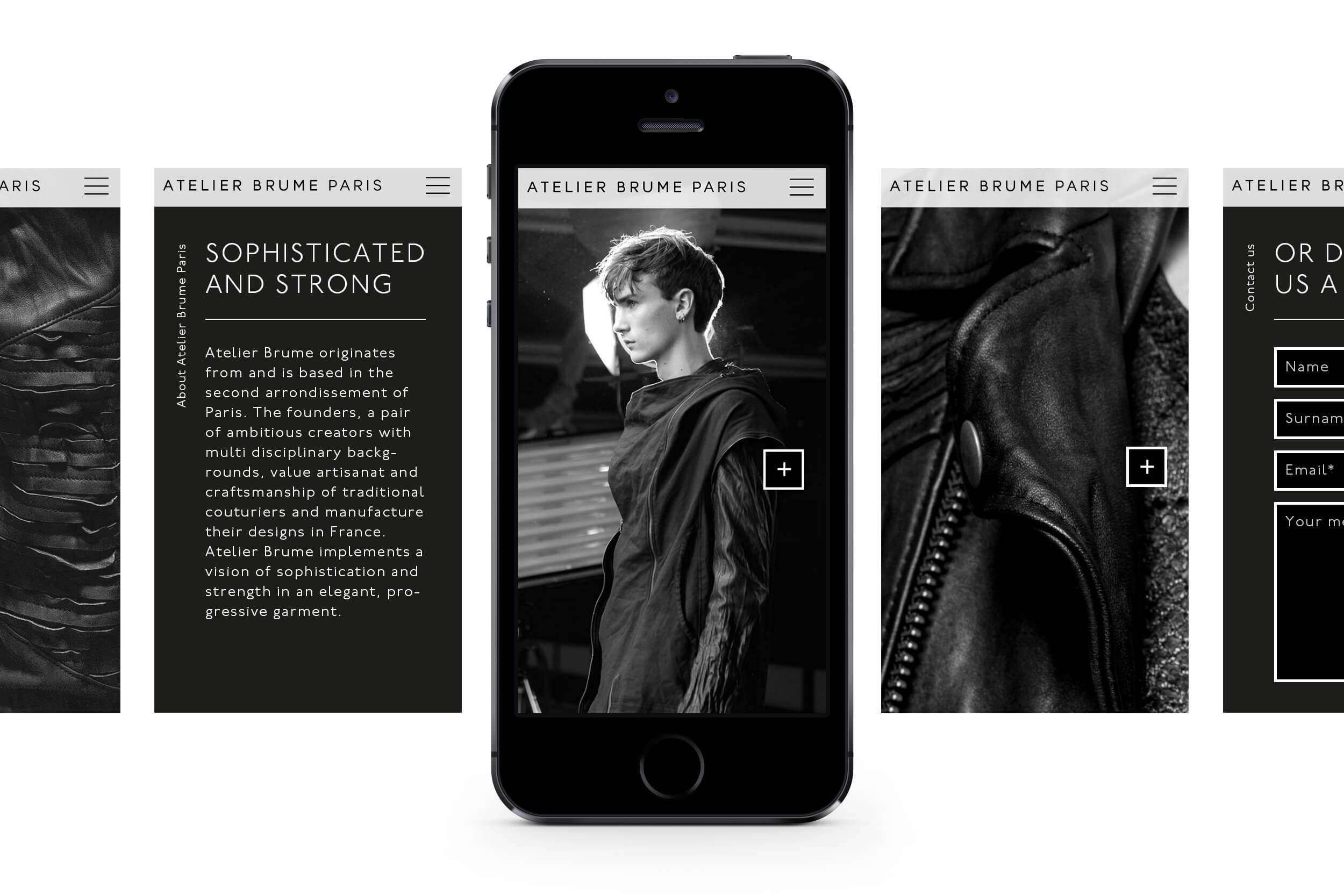 Atelier Brume Paris - Website, Digitalkonzept, Digital Design und Development für französisches Modelabel von ELLIJOT – mobile Version